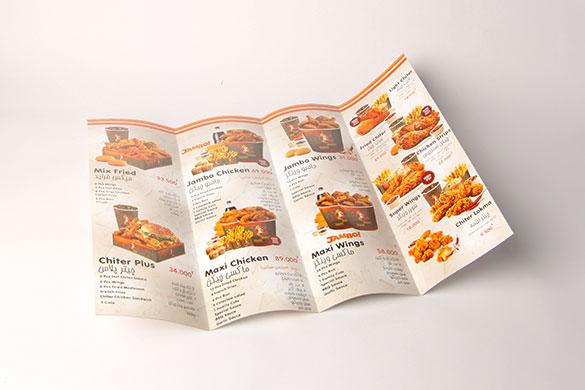 طراحی و چاپ منو فست فود چیتر چیکن Chiter Chicken