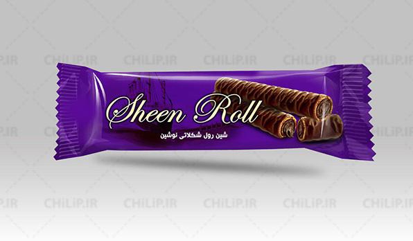 طراحی بسته بندی محصول غذایی شین رول شکلاتی نوشین