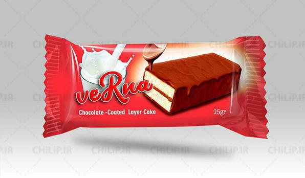 چاپ بسته بندی مواد غذایی کیک لایه ای شکلاتی ورنا