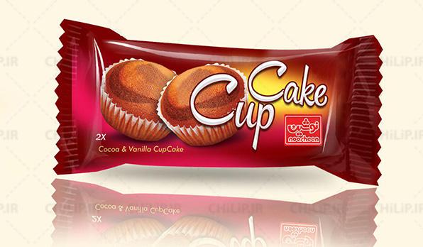 طراحی بسته بندی محصولات غذایی کاپ کیک نوشین